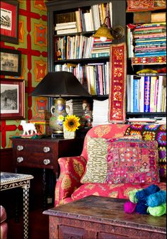 Wow!!!! love this room. Living room for a gypsy heart. Books, bright colors, antiques, textures, fabrics
