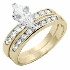 Gold Wedding Rings Set Marquis Cubic Zirconia Ring Band Plus Size 11 12 USSeller Wedding Rings Sets Gold, Engagement Wedding Ring Sets, Wedding Band Sets, Wedding Jewelry, Gold Wedding, Marquise Diamond, Marquise Cut, Diamond Rings, Plus Size Rings