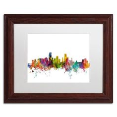 Mercury Row Miami Florida Skyline Framed Graphic Art Size: 1