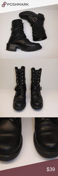 Molt's Moto Boots Size 6.5 #060 Black leather moto boots by Molt's.  Size 6.5, style #50376.  These are pre-owned boots in very good condition with some minor scuffing on toes (see photos) that should clean up nicely with a good polish.  They do need insoles, but the laces are new. Molt's Shoes Combat & Moto Boots
