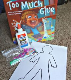 Too Much Glue book activity and preschoolers craft-with glue dots. Activity for learning how to use glue 1st Day Of School, Beginning Of The School Year, Pre School, School Week, School Fun, Preschool Books, Kindergarten Classroom, Preschool Crafts, Preschool Art Display