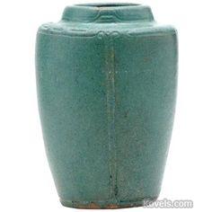 Arequipa Pottery Vase, Pattern or Item: Green Matte Glaze, Incised Greek Key Design On Shoulder, Description: 4 3/4 x 3 1/2 In.