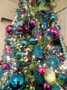 1000 images about teal purple and gold christmas on - Pink and blue christmas tree ...