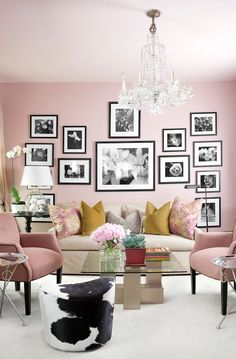 .Liking the powder pink walls !