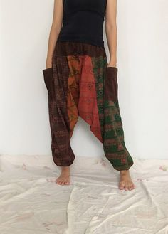 Mixed Colors Hippie Harem Pants, Unisex Pants, Drop Crotch Pants, Baggy Pants with Om patterned (HR-531) by ThaiFascinate on Etsy