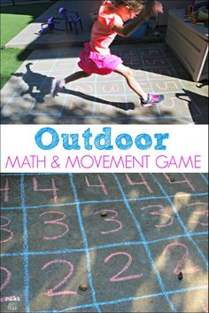Outdoor Math Game - Mess for Less This outdoor math game gets kids moving and learning. All you need is some chalk and rocks to play and learn! Math Games For Kids, Outdoor Activities For Kids, Games For Toddlers, Outdoor Learning, Preschool Activities, Kids Learning, Outdoor Play, Kids Math, Summer Activities