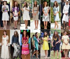 This combination of pictures shows outfits worn by Kate Middleton on her Southeast Asian & Pacific tour (2012)