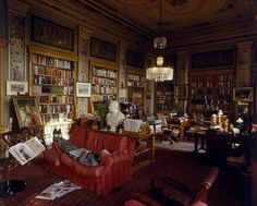 speciesbarocus: Chatsworth Library by Christopher Simon Sykes.The Duke of Devonshire takes a nap in the Lower Library of Chatsworth House Derbyshire. Home Library Design, Dream Library, Cozy Home Library, Magazine Images, T Magazine, London Bookstore, Duke Of Devonshire, Chatsworth House, World Of Interiors
