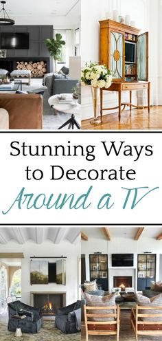 12 Ideas to Decorate Around a TV | A list of decorating solutions to hide and blend your television to make it work beautifully in any room. #decoratingtips #tv
