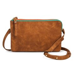 Women's Crossbody Handbag with Green Zipper - Brown