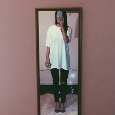 Distressed Tee in White New reworked tee Oversized fit Fits like an oversized medium Feel free to ask me any questions Thanks for browsing my closet! Happy Poshing Tops Tees - Short Sleeve