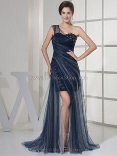 Sheath/Column One Shoulder Tulle Satin Sweep Train Beading Prom Dresses