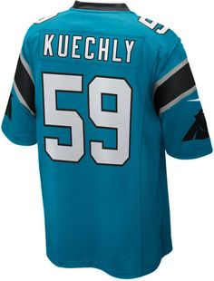 Represent your favorite Carolina Panthers player with a Nike NFL Game jersey, inspired by what Luke Kuechly wears on the field and engineered for total comfort. V-neckline with TPU shield at collar Pullover style Short sleeves Screen print graphics Woven jock tag at hem Tailored fit Officially licensed NFL product Nike on-field apparel NFL game day jersey Polyester Machine washable