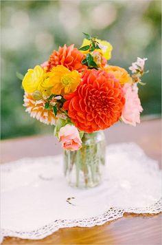 Dawn Ranch Lodge Wedding from Matt Edge Photography Orange Wedding Centerpieces, Orange Wedding Flowers, Floral Centerpieces, Floral Arrangements, Wedding Colors, Wedding Decorations, Flower Arrangement, Dahlia Centerpiece, Stage Decorations
