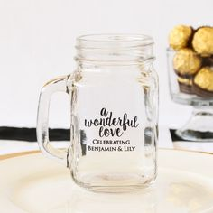 "Personalized printed mason jar mugs will bring a smile to your wedding guests' ""mugs"" in no time!"