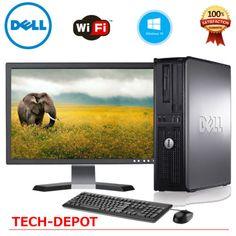 """FAST Dell Desktop PC Computer Core 2 Duo 4GB Ram DVD WiFi 19"""" LCD WINDOWS 10 #ad"""