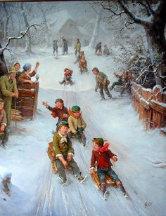 Sled races Christmas Morning