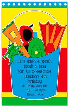 Beach Bucket Birthday Party Invitations