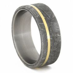 Meteorite Ring with 14k Yellow Gold Pinstripe on Titanium Band