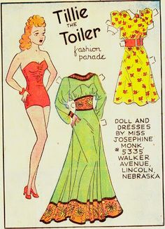 TILLIE THE TOILER -- This 1940 strip featured the Tillie the Toiler Fashion Parade doll.  1 OF 1, from The Paper Collector.