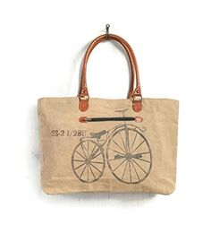 Mona B Vintage Bicycle Canvas Tote Bag - 21-in *** Check out the image by visiting the link.
