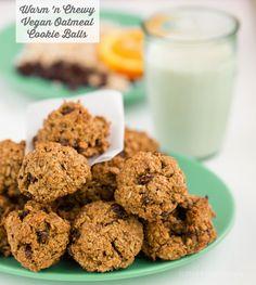Super yummy, warm 'n chewy Oatmeal Cookie balls!  flour-free #vegan #gf #dessert recipe!