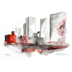 New York Cityscape Watercolor Painting - ART PRINT ($45) ❤ liked on Polyvore featuring backgrounds, fillers, sketches, drawings, art, phrase, quotes, saying and text
