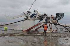 Prysmian's HD Power Cable plough (built by Soil Machine Dynamics) on Normandy Beach 2014