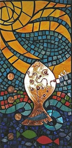 Wall Hanging Of Art Glass Mosaic - If A Fish Could Make A Wish