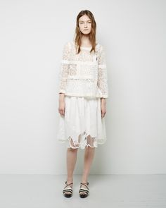 Tsumori Chisato Synchronized Girls Embroidered Skirt  Tsumori Chisato / Lace Patchwork Top Tumori Chisato / Fringe Sandals