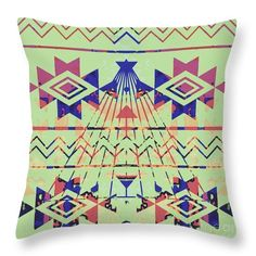 Colorful Throw Pillow featuring the digital art tote Design by Caroline Gilmore