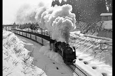 奥羽本線大釈迦〜鶴ヶ坂1971(昭和46)年12月29日  C612の牽く列車