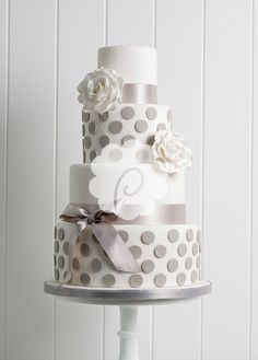 Grey and white polka dot cake