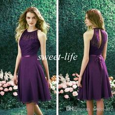 2015 Purple Short Bridesmaid Dress High Neck Lace Chiffon Sash Bridesmaid Dresses Knee Length Beach Wedding Party Queen Maid of Honor Dress Online with $69.67/Piece on Sweet-life's Store | DHgate.com