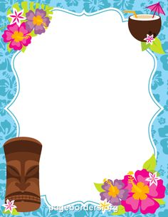 Printable luau border. Use the border in Microsoft Word or other programs for creating flyers, invitations, and other printables. Free GIF, JPG, PDF, and PNG downloads at  http://pageborders.org/download/luau-border/