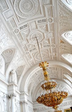 Barrel vaulted & coffered ceiling in Winter Palace in St Petersburg