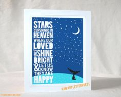 Stars are Openings in Heaven, Inuit Eskimo Proverb,  Childrens Room Art, Stars, Whale, Typography, Raw Art Letterpress