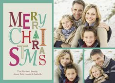 """Merry Christmas Script - Rob+Bob Studio - Photo Christmas Card. Say Merry Christmas in a bold way with this colorful card, featuring a Christmas message in a variety of fonts and colors. Add three family photos to share your jolliest holiday wishes with family and friends. 7"""" x 5"""" Flat Card. Price: $1.69"""