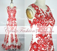 2014+Mermaid+Lace+Beads+Red+Evening+DressProm+by+CassieFashion,+$209.00