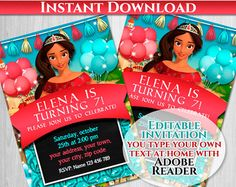 Elena of Avalor Birthday Invitation Editable Text, PDF, Instant Download