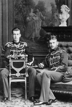 Grand Duke Paul (left) (1860 - 1919), and Grand Duke Sergei (1857 - 1905). Sons of Czar Alexander II, brothers of Alexander III, and uncles of Nicholas II. Paul was shot by the Bolsheviks, and Sergei was killed in a bomb attack.