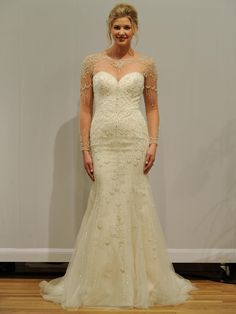 Justin Alexander long sleeve illusion neckline strapless sweetheart fit-to-flare wedding dress