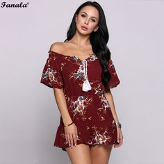 3689a8c79508 Summer Jumpsuit Women Sexy Short Sleeve Multicolor Floral Print Tassel Off  The Shoulder Ruffle Sheath Rompers  50-30