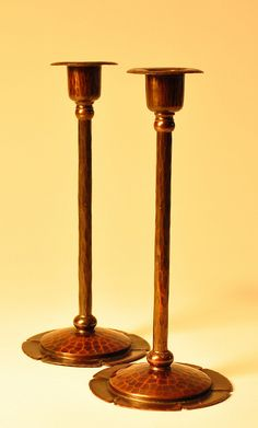Roycroft candlesticks with floriform bases. Original Aurora Brown finish in excellent condition. Roycroft, Craftsman Style, Antique Copper, Candlesticks, Metal Working, Aurora, Home Goods, Candle Holders, Industrial