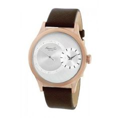 This watch's oversized case and small dial give it a mod look. It will add sleek style to simple suits and shirts.