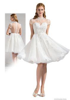 High-neck short wedding dress. Sexy back design.   #JJsHouse #JJsHouseWeddingDress