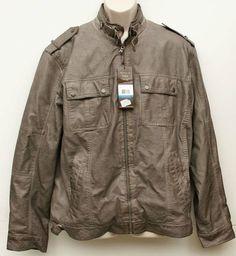 Perry Ellis Castlerock Men's PU Bomber Jacket Castlerock COAT