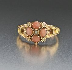 Victorian 15K Gold Pearl Coral Ring, Secret Locket  #Georgian #Gold #Coral #Natural #Pearl #Locket #Victorian #Ring #Watch #Amethyst