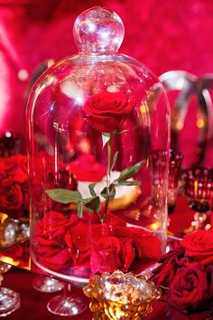 Enchanted red rose wedding centerpiece inspired by Beauty and the Beast