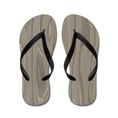 Gray Wood Flip Flops